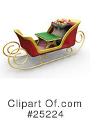 Royalty-Free (RF) Sleigh Clipart Illustration #25224
