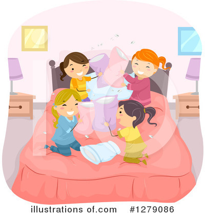 Pillow Fight Clipart #1279086 by BNP Design Studio