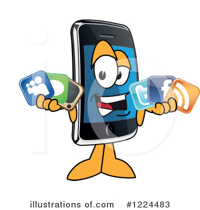 Cell Phone Character Clipart #1224483 by Toons4Biz