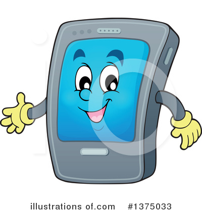 Smart Phone Character Clipart #1375033 by visekart