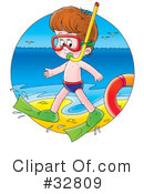 Royalty-Free (RF) Snorkeling Clipart Illustration #32809