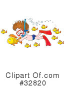 Royalty-Free (RF) Snorkeling Clipart Illustration #32820
