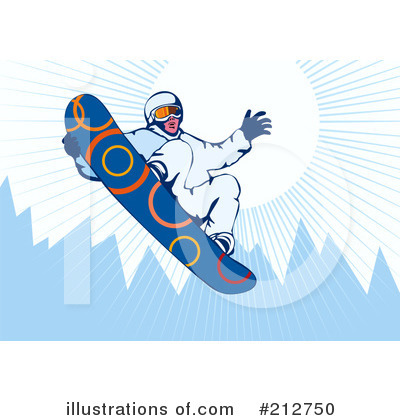 Royalty-Free (RF) Snowboarding Clipart Illustration by patrimonio - Stock Sample #212750