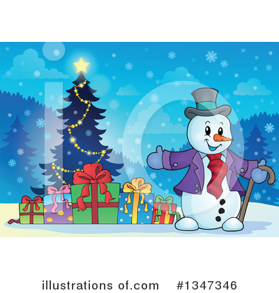 Royalty-Free (RF) Snowman Clipart Illustration by visekart - Stock Sample #1347346
