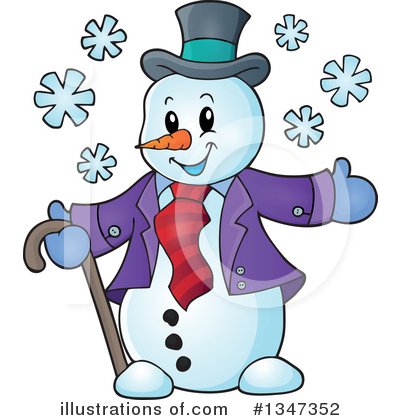 Royalty-Free (RF) Snowman Clipart Illustration by visekart - Stock Sample #1347352