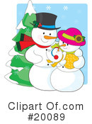 Royalty-Free (RF) snowman Clipart Illustration #20089