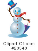 Royalty-Free (RF) Snowman Clipart Illustration #20348