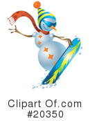 Royalty-Free (RF) Snowman Clipart Illustration #20350