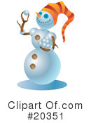 Royalty-Free (RF) Snowman Clipart Illustration #20351