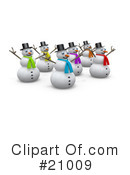 Royalty-Free (RF) snowman Clipart Illustration #21009