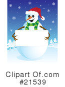 Royalty-Free (RF) snowman Clipart Illustration #21539