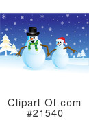 Royalty-Free (RF) snowman Clipart Illustration #21540