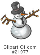 Royalty-Free (RF) snowman Clipart Illustration #21977