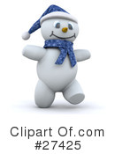 Royalty-Free (RF) snowman Clipart Illustration #27425