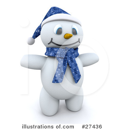 Royalty-Free (RF) Snowman Clipart Illustration by KJ Pargeter - Stock Sample #27436