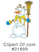 Royalty-Free (RF) snowman Clipart Illustration #31899