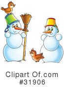 Royalty-Free (RF) snowman Clipart Illustration #31906