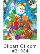 Royalty-Free (RF) snowman Clipart Illustration #31934