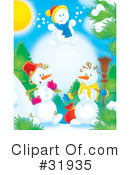 Royalty-Free (RF) snowman Clipart Illustration #31935