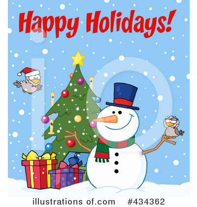 Royalty-Free (RF) Snowman Clipart Illustration by Hit Toon - Stock Sample #434362
