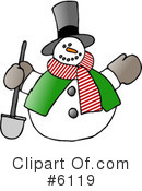 Royalty-Free (RF) Snowman Clipart Illustration #6119