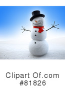 Royalty-Free (RF) snowman Clipart Illustration #81826