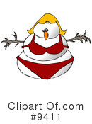 Royalty-Free (RF) snowman Clipart Illustration #9411