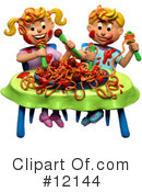 Royalty-Free (RF) spaghetti Clipart Illustration #12144