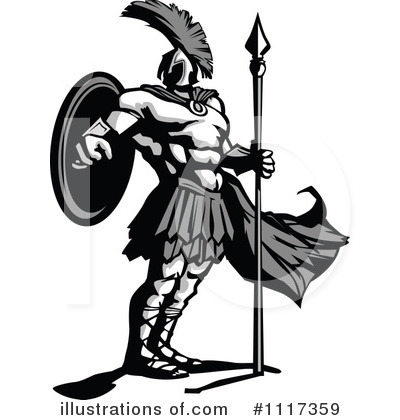 Royalty-Free (RF) Spartan Clipart Illustration by Chromaco - Stock Sample #1117359