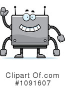 Royalty-Free (RF) Square Robot Clipart Illustration #1091607