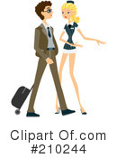 Royalty-Free (RF) Stewardess Clipart Illustration #210244