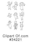 Royalty-Free (RF) Stick Figures Clipart Illustration #34221