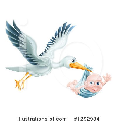Stork Clipart #1292934 by AtStockIllustration