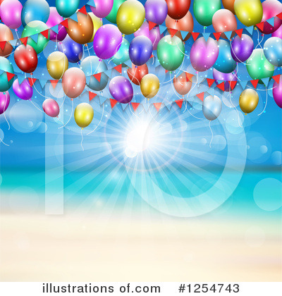 Party Balloons Clipart #1254743 by KJ Pargeter