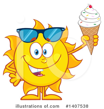 Sun Character Clipart #1407538 by Hit Toon