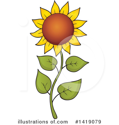 Royalty-Free (RF) Sunflower Clipart Illustration by visekart - Stock Sample #1419079
