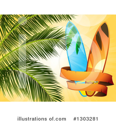 Royalty-Free (RF) Surf Board Clipart Illustration by elaineitalia - Stock Sample #1303281