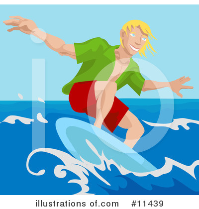 Surfer Clipart #11439 by AtStockIllustration