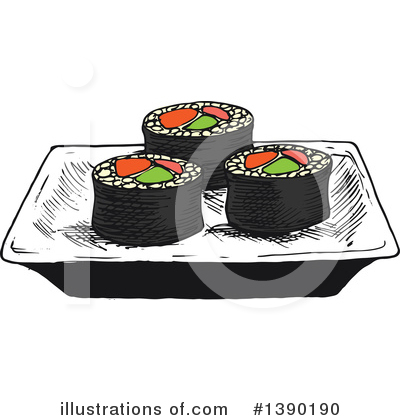 Royalty-Free (RF) Sushi Clipart Illustration by Vector Tradition SM - Stock Sample #1390190