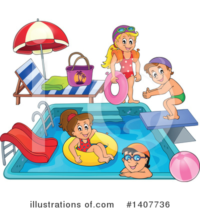 Royalty-Free (RF) Swimming Clipart Illustration by visekart - Stock Sample #1407736