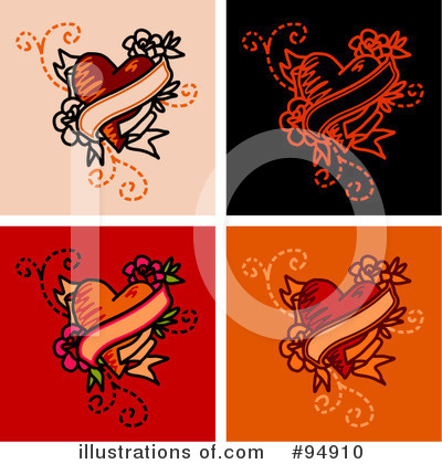 Royalty Free RF Tattoo Heart Clipart Illustration By NL Shop  Stock