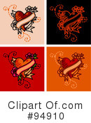 Royalty-Free (RF) Tattoo Heart Clipart Illustration #94910