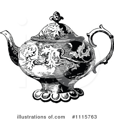 Royalty-Free (RF) Tea Pot Clipart Illustration by Prawny Vintage - Stock Sample #1115763