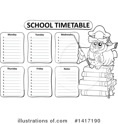 School Timetable Clipart #1417190 by visekart