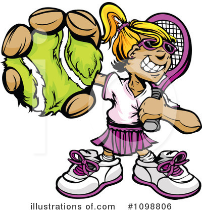 Tennis Girl Clipart #1098806 by Chromaco