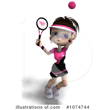 Tennis Girl Clipart #1074744 by Ralf61
