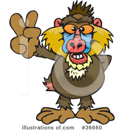 Monkey Clipart #36660 by Dennis Holmes Designs
