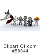 Royalty-Free (RF) Trick Or Treat Clipart Illustration #58344