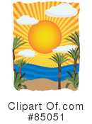 Royalty-Free (RF) Tropical Beach Clipart Illustration #85051