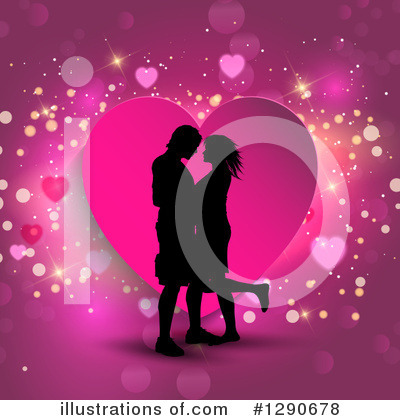 Kissing Couple Clipart #1290678 by KJ Pargeter